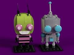 Invader Zim - BrickHeadz MOC (headzsets) Tags: invader zim gir jhonen vasquez nickelodeon animation dib gaz brickheadz lego moc brickhead brickheads