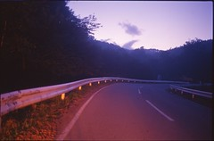(✞bens▲n) Tags: pentax lx kodak e100sw fa 31mm f18 limited film analogue slide japan nagano road light dark evening sky red