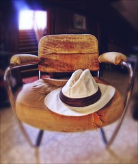 Our Daily Challenge: Sit Down (Sue90ca OFF & ON...ON HOLIDAYS) Tags: canon 6d odc sit down chair hat fisheye