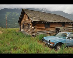 the things we leave behind (Gordon Hunter) Tags: amc pacer car auto blue old log cabin house home wood mountains hills green brown outdoor outside country rural fraser canyon bc canada gordon hunter nikon d5000