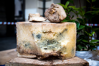 Aged cheese. Seen at a market in Turin, Italy.
