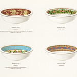 Vintage Illustration of decorated wash basins published in 1884 by J.L. Mott Iron Works. thumbnail