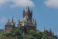 Tower (music_man800) Tags: reichsburg cochem castle burg germany deutschland de mosel moselle river valley holiday town city roadtrip road trip june 2018 warm blue sky sunny hot day looming figure trees shapes arty art architecture design canon 700d adobe lightroom creative cloud edit photography outdoor outside walk hike sigma 150mm macro prime lens sharp focus