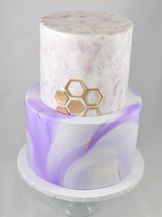 Marble and watercolor geometric cake (jennywenny) Tags: marble watercolor hand painted purple lavender white gold birthday hexagon