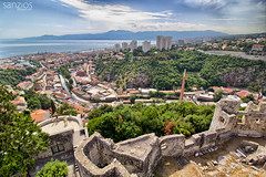 Rijeka - panoramic view from Trsat Castle - Croatia (sanzios) Tags: rijeka trsatcastle castle panorama panoramic istria croatia dalmation mediterranean fortress adriaticsea sea europe coastline harbor boat beach mountains travel oldtown