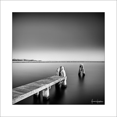 Essence VII (Frank Hoogeboom) Tags: zuidholland netherlands holland zeeland nederland grevelingenmeer brouwersdam sea lake sky water jetty pier monochrome blackwhite bw mono longexposure fineart square smooth waterworks art travel nl