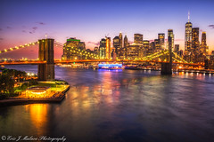 DUMBO at Twilight (ericjmalave) Tags: brookyln manhattan bridges newyork nyc sunset twilight city architecture street longexposure le ny dumbo