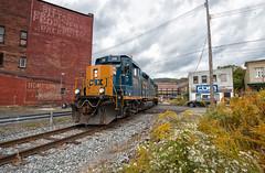 The D703 (Wheelnrail) Tags: csx csxt johnstown pa pennsylvania train trains railroad rail road rails emd gp403 local d703 downtown urban flowers cloudy