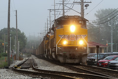 UP 9009 @ Miller, IN (Michael Polk) Tags: miller gary chicago south shore bend railroad freight train coal emd sd70ah interurban up 9009
