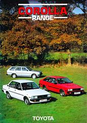 KE70 TE71TOYOTA COROLLA UK RANGE BROCHURE 1983 (celicacity) Tags: ke70 estate dx saloon gl te71 xe toyota corolla uk range brochure 1983 0000090345br february