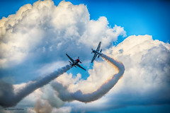 Jak i Kielak (NoisySquirrel) Tags: kielak jak airplanes aircraft airshow air acrobatics sky blue poland świdnik smoke clouds cloud