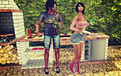 Summer BBQ's!!!! (kare Karas) Tags: woman lady femme girl party bbqs summer outdoors fun game virtual avatar secondlife beauty cute pretty couple eat sunny event mesh colors huds lifestyle fashion dinner poses overall chucks sneakers bento fashiowlposes revelation sassyaf