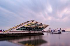 Dockland - Hamburg, Germany (pedrognecco) Tags: green hamburg germany deutschland travel europe multiexposure long exposure nikon river sea water dusk sunset architecture