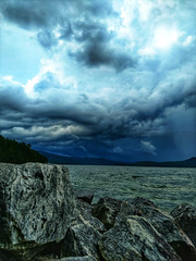stormy landscape over lake jocassee south carolina (DigiDreamGrafix.com) Tags: beautiful landscape scenes sc southcarolina lakejocassee clearwater devilsfork crystal nature tree jumping mountains picturesque rock adventure swimming roots wilderness amazing boating thunderstorm stormy clouds sunset gorgeous