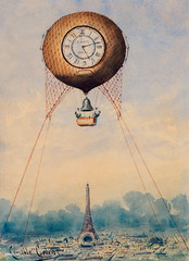 Illustration of captive balloon with clock face and bell, hovering above Paris, France with Eiffel Tower in the background by Camille Gravis. Original from Library of Congress. Digitally enhanced by rawpixel. (Free Public Domain Illustrations by rawpixel) Tags: aeronautic air aircraft antique apparatus art balloon bell camille camillegravis captive cityscape clock discovery drawing eiffel face floating france french gas graphite gravis high illustrated illustration net old paris physics propulsion rope science scientific sketch sky tower vintage watercolor