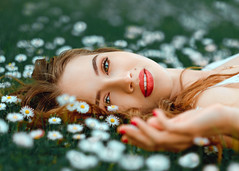 Gabia (sauliuske) Tags: summer girl mood young beautiful flowers meadow face eyes lips outdoor portrait