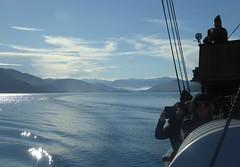 The View across the Lake. (jenichesney57) Tags: blue sky haze silhouette boat steamer nz panasoniclumix light mountains
