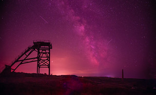 Milky Way and Perseid Meteors over Cornish Tin Mines
