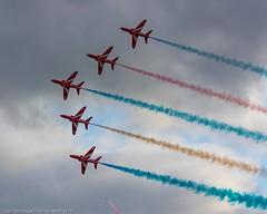 Red Arrows; Falmouth Week, Cornwall (doublejeopardy) Tags: falmouthweek cornwall raf redarrows perform falmouth aircraft jet england unitedkingdom gb