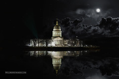 West Virginia Architecture: State Capital (Will.Moneymaker) Tags: architecture capital westvirginia reflection moon night photography landscape river clouds mirror state