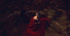 Waltz of Roses (XoLushXo) Tags: waltz rose love red lightts darkness passion sweet dance gown memories friends portrait illusion fugaz romance romantic secondlife photography art visual artists secondlifeart