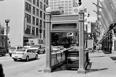 Subway (Crawford Brian) Tags: subway entrance cta chicagotransitauthority chicago illinois city urban street depauluniversity car auto stairs down jackson film analog fpp400bw filmphotographyproject nikonfm 35mm blackandwhite bw monochrome statestreet thedarkroomcom