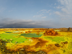 Planet Egg (Magic Pea) Tags: ethiopia travel photo photography magicpea africa eastafrica salt pond crust sulphuricacid volcanic strange weird landscape colours bright green yellow alien