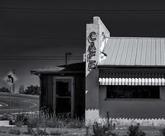 CAFE (Orson Wagon) Tags: newmexico cafe neon sign old abandoned decay eat food diner black white road trip