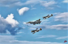 CORSAIR, MUSTANG P-52, AND F-22 RAPTOR IN FORMATION, OSHKOSH AIR SHOW 2018 (panache2620) Tags: corsair p51 mustang f22 raptor eos canon oshkoshairshow wisconsin planes aircraft sky formation photodocumentary