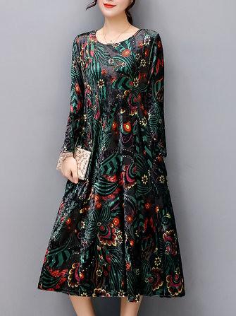 8de3d87649a Elegant Women Floral Print Loose Velvet Mid-long Dresses (1210699)  Banggood  (