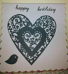 Happy Birthday Grey Heart with Bird (Daisygirl Art 123) Tags: handmadecards handcraftedcards handmade hearts grey sparkle glitter happy birthday heartshape