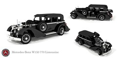 Mercedes-Benz W150 770 Grosser Limousine (1938) (lego911) Tags: mercedes benz mercedesbenz w150 770 grosser pullman limousine limo luxury exlcusive 1938 1930s classic vintage oldtimer german germany auto car moc model miniland lego lego911 ldd render cad povray straighteight nazi hitler staff supercharged supercharger
