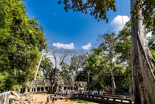 Tourists Gather at the Western Gopura (Entrance) of the Ta Prohm Temple, Cambodia-57