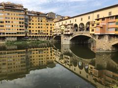Ponte Vecchio reflections (Rick Payette) Tags: italy iphone8plus arno bridges pontevecchio florence reflections