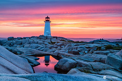 PeggysCove_0258 (sugarzebra) Tags: peggyscove cove novascotia canada lighthouse rocks water sea ocean maritime reflection sunset pond longexposure