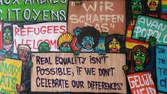 Real equality isn't possible, if we don't celebrate our differences (Red Cathedral uses albums) Tags: refugeeswelcome wirschaffendas ty equality angelamerkel protest graffiti gent vooruit streetart urbanart