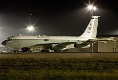 """WC-135C 62-3582/OF 55thWG """"Constant Phoenix"""" is seen at rest, on a very rare occasion by the fence at night. RAF Mildenhall  11/10/09 #constantphoenix #jet #egun #raf #usaf #military #militaryphotography #mildenhall #55wg #night #nightphotography #whiteto (waynebutton661) Tags: nightphotography egun usaf raf night jet militaryphotography 55wg constantphoenix military mildenhall whitetop"""