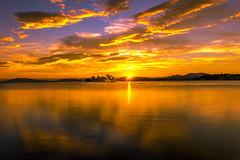 sunset 2648 (junjiaoyama) Tags: japan sunset sky light cloud weather landscape orange yellow contrast color bright lake island water nature summer reflection sun calm
