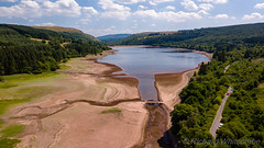 Aerial drone view of a dried up reservoir in the Brecon Beacons during a summer heatwave (Llwyn-On) (WhitcombeRD) Tags: change dry bridge brecon nature water land tourist lake globalwarming hot above drone uk scenic wave sky climatechange low global earth level drought rain climate llwyn warming travel arid ecology aerial empty beautiful summer heat wales shortage breconbeacons scenery britain river welsh landscape aerialview heatwave plant llwynon tourism beacons reservoir