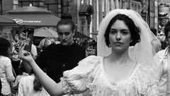 Fringe on the Mile 2018 084 (byronv2) Tags: womanandthecanvas woman girl performer actor bride bridaldress pretty beautiful portrait edinburgh edimbourg edinburghfestivalfringe edinburghfringe edinburghfestivalfringe2018 edinburghfringe2018 fringe2018 royalmile oldtown blackandwhite blackwhite bw monochrome