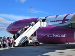 WW161 KEF-SFO 7/30/2017 (kenjet) Tags: ww wow wowair kef bikf airbus ww161 a333 333 a330343x tfgay sq 9vstj ramp airport tarmac boarding engine purple purpleplane widebody