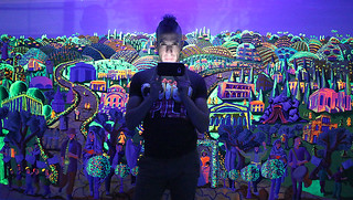 Glowing paintings at night in ultraviolet light Colorful painting raphael perez israeli painter