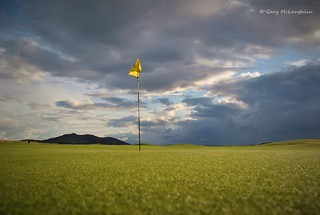 The 18th green at North West Golf Club in Inishowen, Co.Donegal, Ireland