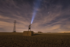E.T. Calling home (mystero233) Tags: torch energizer 1300 1300lumens lumens haystack wheat field harvest uk england gb britain papworth cambridgeshire cambridge landscape outdoor outside beam light electricity sky night nightsky person me