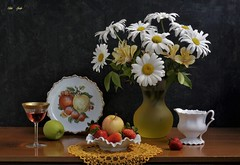 August  Reminder (Esther Spektor - Thanks for 12+millions views..) Tags: stilllife naturemorte bodegon naturezamorta stilleben naturamorta composition creativephotography summer august tabletop food fruit apple strawberry bouquet flowers daisy alstromeria wine plate goblet bowl pitcher doily decorative glass ceramics pattern ambientlight white yellow green red brown estherspektor canon coth5