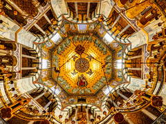Magnificent ceiling (Marc Rauw.) Tags: dom dome ceiling art architecture church cathedral aachen aken aachenerdom religion religious lookingup gold golden olympusomdem5markii olympus omd em5 mzuiko918mm mzuiko 918mm wideangle symmetry symmetrical octagonal holy romancatholic octagon barbarossa chandelier barbarossachandelier