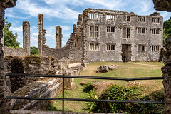 Berry Pomeroy Castle (Keith in Exeter) Tags: berrypomeroy castle totnes devon ruins stonework wall grass fence sky building architecture tudor column tree landscape mansion