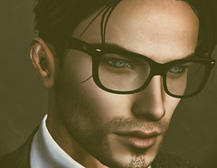 Close To Me (larisalyn (Rachel)) Tags: portrait man sexy headshot blue eyes blueeyes glasses suave secondlife male fashion suit