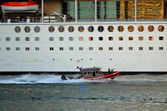 US Coast Guard Patrol & Enchantment of the Seas (Infinity & Beyond Photography) Tags: uscg us united states coast guard patrol boat watercraft royalcaribbean enchantmentoftheseas cruise ship
