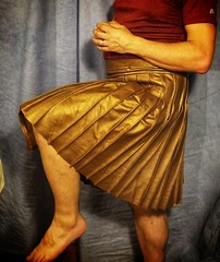 Pleats open and close well! (joshua_putnam) Tags: leather steampunk sewing costuming kilt pleats pleating pleated copper bronze cosplay